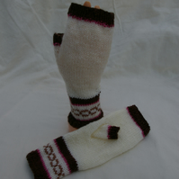 Fingerless Gloves in cream, browns and pink hand knitted