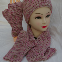 Hat, Scarf and Fingerless Gloves Set Hand Crochet in Fawn and Pink