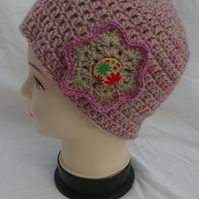 Hat Hand Crocheted in Fawn and Pink with Crochet Flower