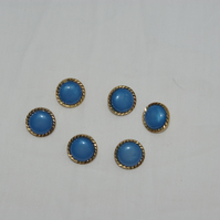 Buttons in Blue and Gold a Set of Six