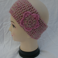 Ear Warmer Head Band, Hand Crochet With Crochet Flower Emblem