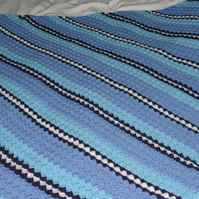 Blanket Crochet in Blues and White Stripes