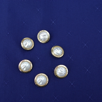 Buttons Six Vintage White and Gold Coloured Buttons