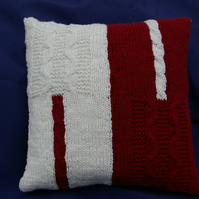 Cushion Hand Knitted Cable Cushion in Burgundy Red and White