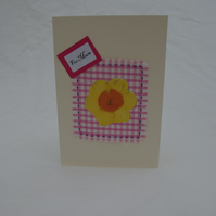Mother's Day Card, Daffodil and Pink Gingham For Mum Card