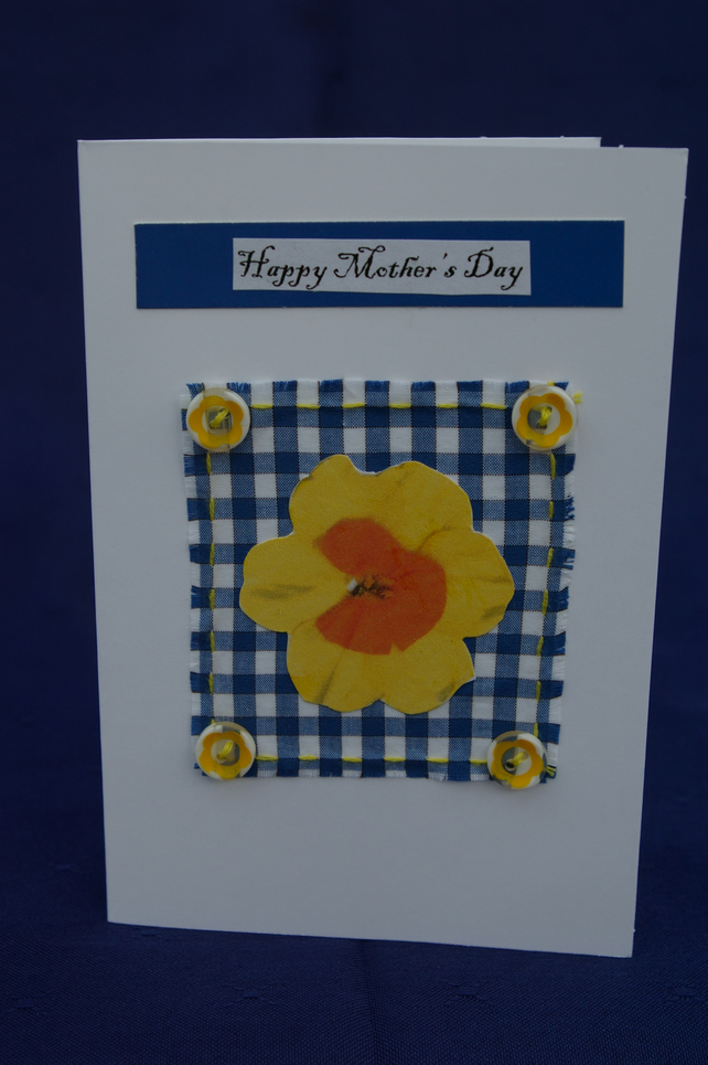 Mother's Day Card Daffodil and Blue Gingham Check