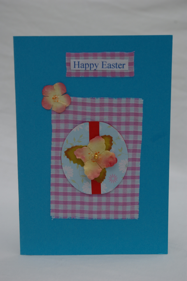 Easter Egg Card, Handmade in Pink and Blue