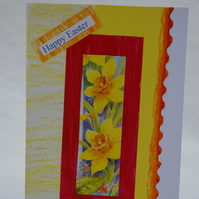 Easter Card with Daffodil Panel in Yellow, Orange and Red