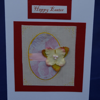 Easter Card Handmade  Egg and Flower Design