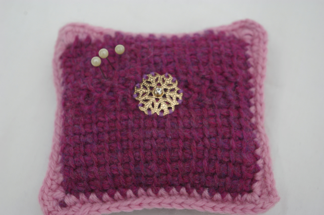 Pin Cushion Crochet in Maroon and Pink
