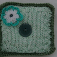 Pin Cushion Hand Knitted in Greens and White