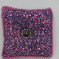 Pin Cushion Hand Knitted in Pink and Purple