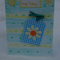 Card Birthday Card with Flower Tag