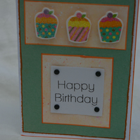 Card Handmade Birthday Card with Cakes