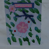 Handmade Birthday Card with Pink Flower Tag