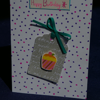 Birthday Card Handmade with Cup Cake Tag