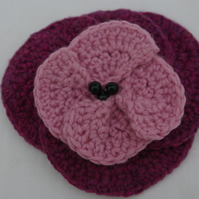 Brooch Large Poppy in Maroon and Pink
