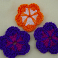 Three Crochet Flowers