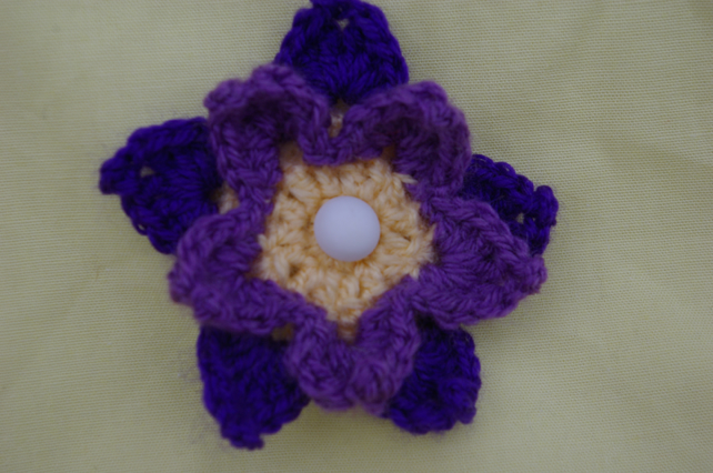 Brooch Purple Crochet