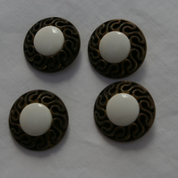 Buttons Vintage Set in White and Bronze