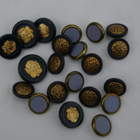 Buttons Vintage Mixed Blues and Gold