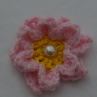 Brooch Small Pink Flower Crochet Brooch