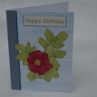 Birthday Card Handmade Dog Rose