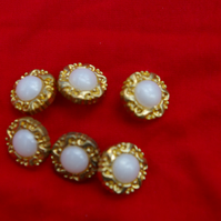Buttons Six Vintage Pearlized White and Gold Buttons
