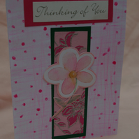 Card Thinking of You pink flower card