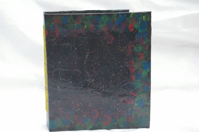 Notebook or Journal handmade in Black with poppies and cornflowers