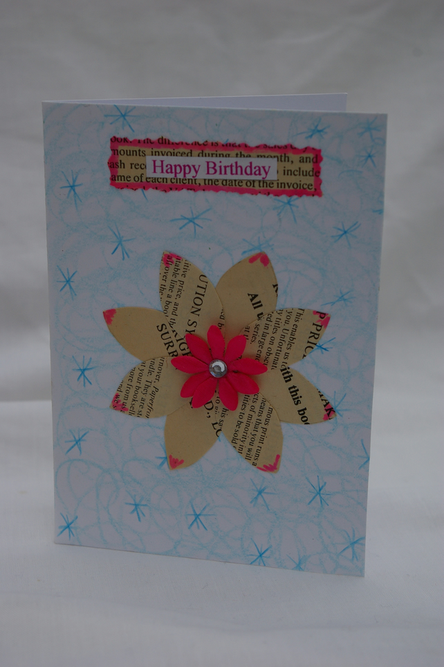 Handmade Birthday Card with Paper Flower