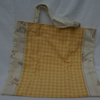 Tote bag hand sewn orange check and cream floral