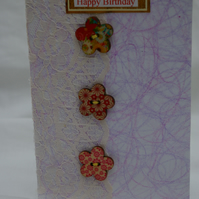Buttons and Lace Birthday Card