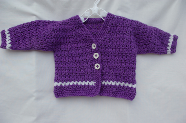 Baby Girl Crochet Cardigan in Purple