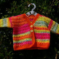 Baby Cardigan Rainbow Coloured Hand Crochet