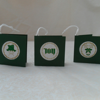 Gift Tags Small Christmas Cross Stitch Tags in Green and Gold colours