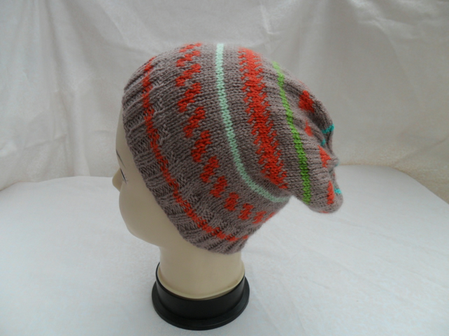 Hat Slouch Beanie Hat hand knitted Fair Isle Style