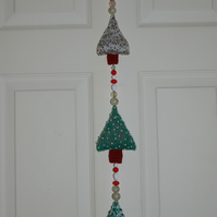 Christmas Tree Wall Hanging knitted and beaded