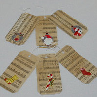 Christmas Gift Tags six upcylced retro style tags