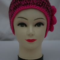 Hat Pink and Brown crochet Beanie Hat
