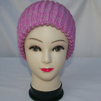 Beanie Hat knitted in Shades of Pink