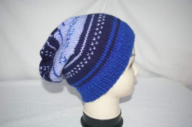 Slouch Beanie Hat Hand Knitted in Bllues.