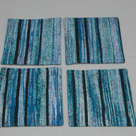 Coaster 4 Retro Striped Fabric Coasters