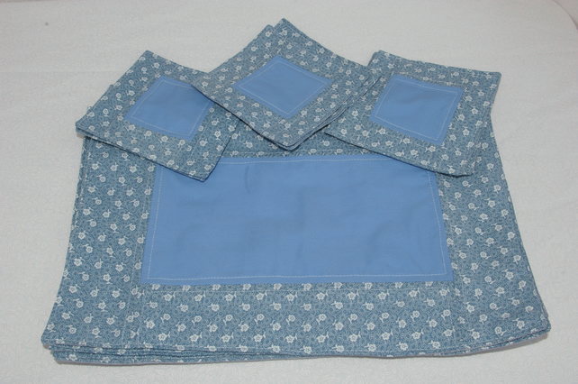 Place Mats and Coasters in Patchwork Blues and White Set of Six