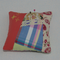 Pin Cushion in crazy patchwork with lace and embroidery