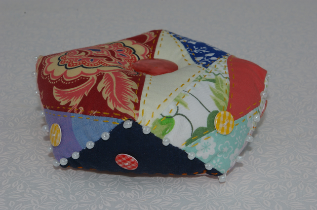 Pin Cushion Large Patchwork Biscornu Pin Cushion