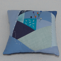 Large pin cusion patchwork in Blue