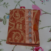 Sewing Needle Case in cream and rustic brown