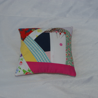 Pin Cushion large in crazy patchwork