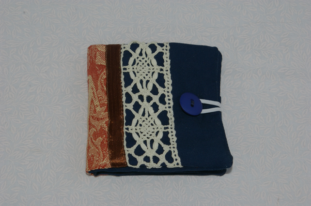 Sewing Needle Case in Dark Blue and Lace